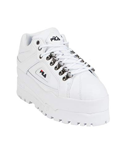 Fila White Shoes - Fila Women's Trailblazer Wedge Sneakers, White Navy Red, 8 M US