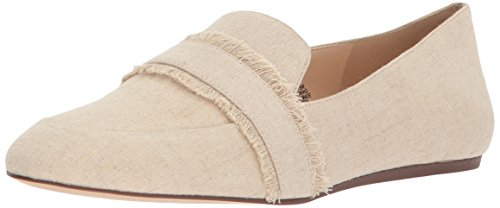 Nine West Women's BARUTI Fabric Loafer Flat, Natural Linen