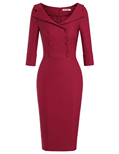 MUXXN Womens Sheer Button Up Sheath Slim Wear to Work Pencil Midi Office Dress (Burgundy M)
