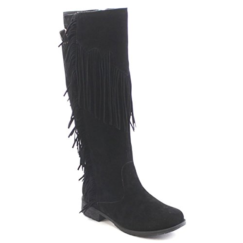 Fashion Women Multi- Color Lima Moccacnins Three Layerd Tassels Fring Beaded Winter Mid Calf Cowboy Faux Suede Sexy Dress Boot Shoes(Run Small go 1/2-1 sz up)) (7.5, Black/Riley-01)