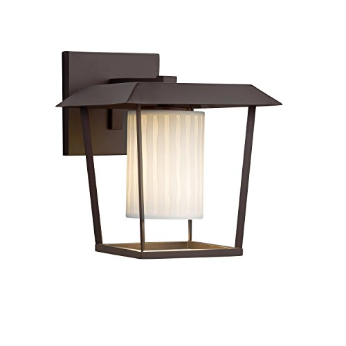 Limoges - Patina Large 1-Light Outdoor Wall Sconce - Cylinder with Flat Rim Translucent Porcelain Shade with Waterfall Design - Dark Bronze Finish - LED