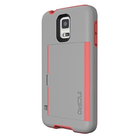 Incipio Stowaway Credit Card Case for Samsung Galaxy S5 - Retail Packaging - Gray/Neon Orange (Incipio Phone Case For Galaxy S5)