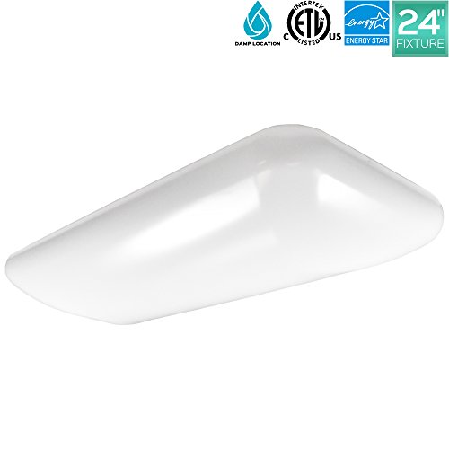 Luxrite 2FT Puff LED Flush Mount Ceiling Light Fixture, 34W, 4000K (Cool White), ENERGY STAR, 3500 Lumens, LED Ceiling Light, 120-277V, Damp Rated, ETL Listed, 1-Piece Cloud Fixture