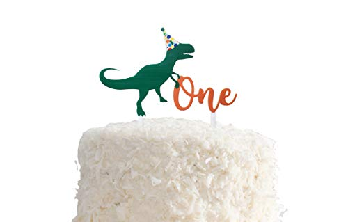 Birthday Dinosaur Acrylic Cake Topper for 1st Birthday, First BDay by PinkFish Shop -