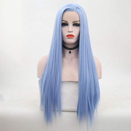 LJWYC Long Straight Hair Dumb Light Lifelike Sky Blue Wig Hand Woven Wig Jacket European And American -