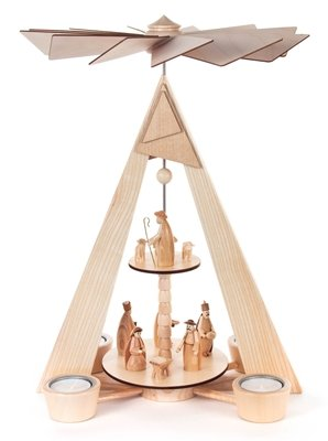 Pyramid with Nativity scene unpainted, 2-floor, for tea light BxHxT 270 x 380 x 220mm AGAIN Ore Mountains Folk art Ore mountain craftsmanship table pyramid Christmas pyramid by Rudolphs Schatzkiste (Image #1)