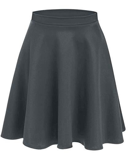 Charcoal Skirts for Women Grey Skater Skirt a Line Pleated Skirt High Waisted Flare Skirt Charcoal Grey Skirt (Size XX-Large (US 18-20), Charcoal)