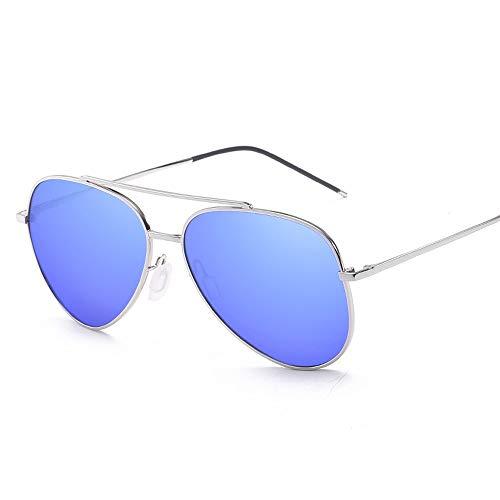 MUMUWU Unisex Polarized Sunglasses Big Metal Round Frame Pilot Frame Type Oversize Fashion Classic Frog Mirror UV400 Lens (Color : E Blue, Size : Free)