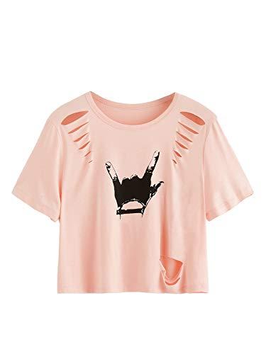 MAKEMECHIC Women's Love Gesture Print Crop Tops Casual Short Sleeve Tees Pink M