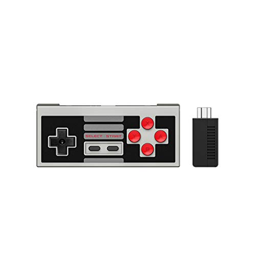 (Basde Wireless Bluetooth Controller with Joysticks Rumble Vibration Retro USB-C Cable Gamepad, Wireless Game Controller for NES Classic Edition Gamepad Joypad with Receiver)