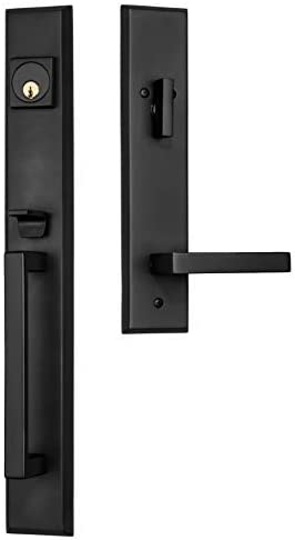 Rockwell Security Premium Lumina Delta Lever Entry Door Handle Set Brushed Solid Brass Fits 5 1 2 Inch Double Bore Doors With Adjustable Bottom Screw Hole Amazon Com