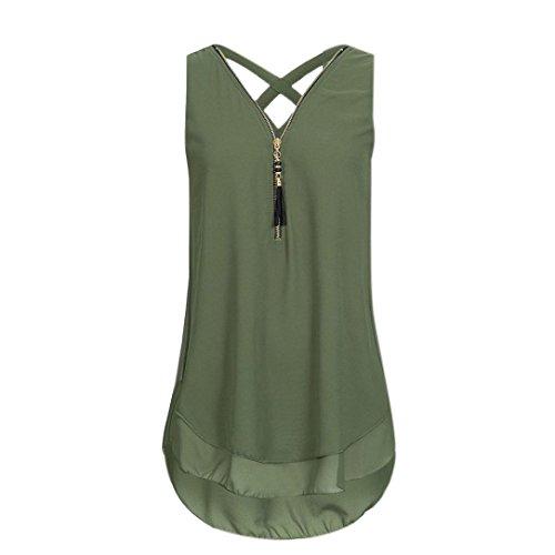 HODOD Women Plus Size 5XL Chiffon Zipper Back Cross Loose Tank Top Vest Camis