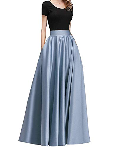 Diydress Women's Long Satin Maxi Skirt Floor Length High Waist Fomal Prom Party Skirts with Pockets Dirty Blue ()