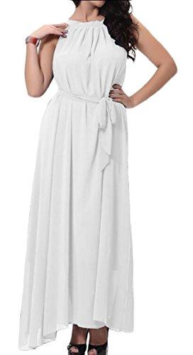 Sleeveless Dresses Beach Solid Maxi Jaycargogo Chiffon White Women's Bohemian gZqnRw