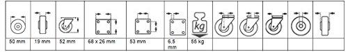grau Helmer Parkett-Bockrolle 50 x 19 mm, TPE-Rad D/örner 791340