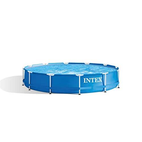 31tEAdb0VYL. SS500 Piscina desmontable tubular Intex de la línea Metal Frame circular y de estructura metálica, mide: 366x76 cm, capacidad: 6503 litros De fácil montaje: instalar sobre terrenos nivelados y firmes para una correcta utilización, recomendada para ser utilizada de 4 a 7 personas mayores de 6 años Lona fabricada con tecnología Super-Tough, con tres capas de material extrafuerte laminadas y estructura de acero resistente pintadas con epoxy antióxido