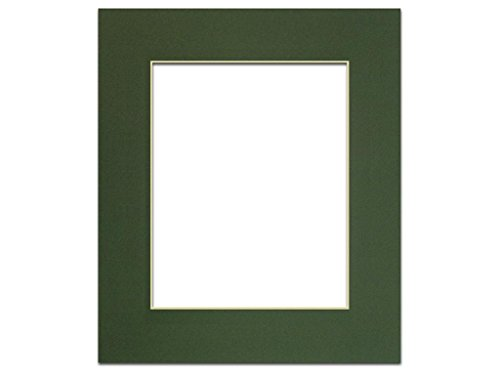 (PA Framing , Photo Mat Board, 11 x 14 inches Frame for 8 x 10 inches Photo Art Size - Cream Core/Hunter Green)