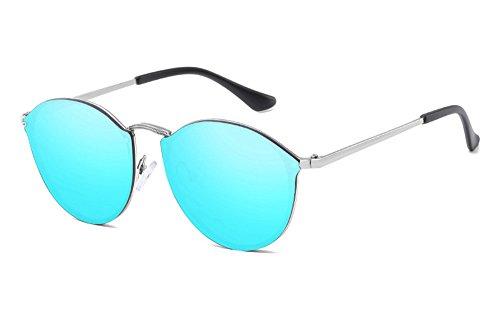 de gafas Gato de gafas mujeres Ojo technolog sin gafas 2018 de lujo Fishion señoras Nuevo Marco Retro lindo Diseñador Azul reborde sol de Plateado qbling de sol para marca 6xXZ8nwqZ