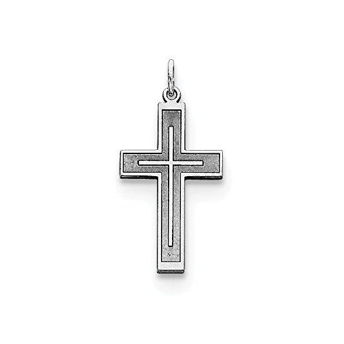 - Sterling Silver Solid Polished Engravable Laser Etched Laser Designed Cross Charm