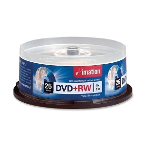 imation 27134 - DVD+RW Discs, 4.7GB, 8x, Spindle, Silver, 25/Pack by Imation