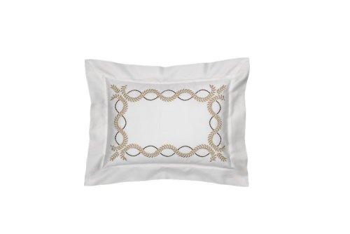 Dea Diana Embroidery Sateen Pillow Sham, Boudoir, Ivory/Dark - Boudoir Sham Sateen