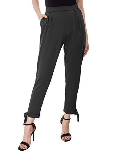 Kate Kasin Solid Color Casual Ankle Pants Pencil Trousers for Women Black,L,KK898-1