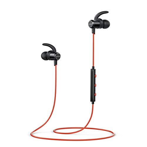 Anker SoundBuds Slim Wireless Headphones, Lightweight Bluetooth 4.1, Earbuds Magnetic Connection Nano Coating, IPX5 Sweat Resistant, Sports Headset Metallic Housing (Red)