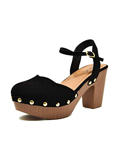 Qupid Women's Farris-11 Faux Suede Studded Clog Heeled Sandals (8, Black) ()