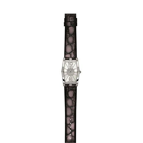 Charmex Nizza 6080 28.5x38.5mm Diamonds Stainless Steel Case Black Calfskin Synthetic Sapphire Women's Watch