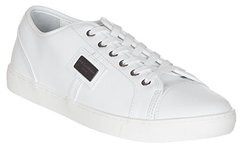 Dolce & Gabbana Men's White Leather CS0930 Sneakers Shoes, White, - Gabbana Shoes Dolce And 2014