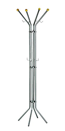 (Alco Light Coat Rack/Stand with 4 Knobs and 8 Hooks, Metal Grey, 71 x 20.5 Inches)