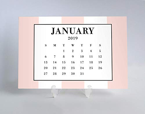 (2019 Desk Calendar Planner Cards At a Glance Pretty in Pink Bold Stripe All Occasion Desktop Gift for Female College Student Woman Teacher Office Coworker 4 x 6 inches with Clear Acrylic Stand CHD0021)