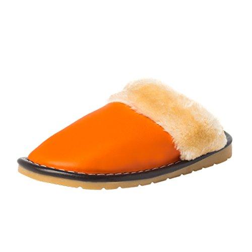 Haisum Dames Pluizige Pluche Voering Silpper Effen Kleur Instapper Pu Lederen Huisslippers Oranje