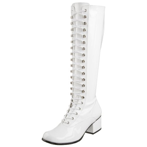 Funtasma by Pleaser Women's Retro-302 Lace Up Gogo Boot,White Stretch Patent,8 M US