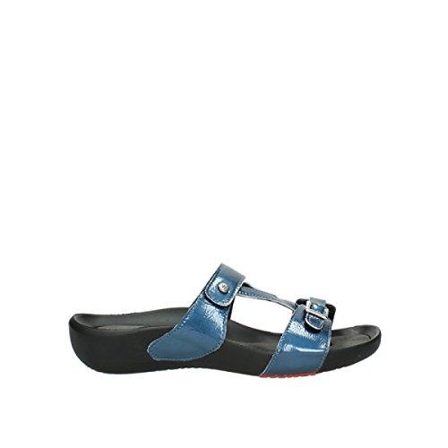 Comodità Wolky Pantoletten 01000 Oconnor 80820 Denim Blau Metallico Lackleder