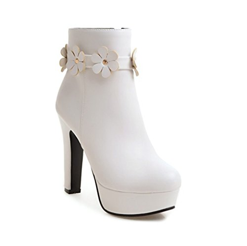 XZ Autumn and Winter High-Heeled Short Boots Female Thick Heel Martin Boots White v9u1bWOVVM