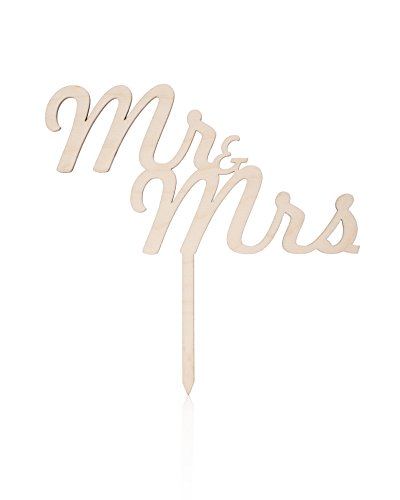 Cake Topper - Mr and Mrs Unique Wooden Wedding, Engagement, Anniversary, and Bridal Shower Decoration - Add a Unique, Rustic, Vintage, Traditional, Country, Or Chic Touch and Look To Your Occasion