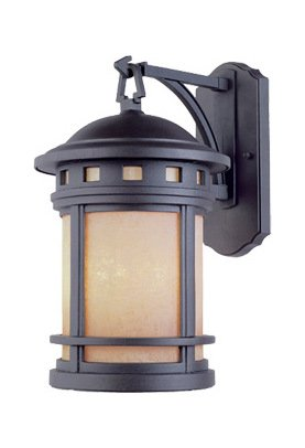 Oil Rubbed Bronze w/amber 3 Light 9in. Cast Aluminum Wall Lantern from the Sedona Collection