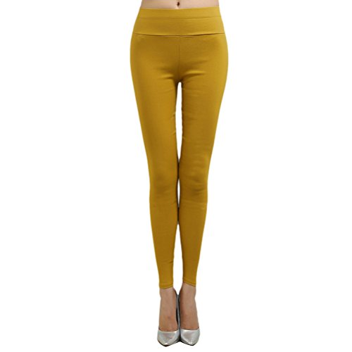 Zhhlinyuan Alta calidad XXL-XXXXXL High Waist Crop Pencil Pants Thin Pant Leggings Plus Size Multicolor Yellow