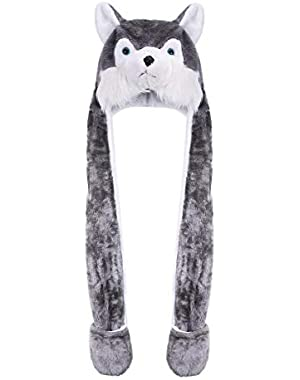 3 in 1 Kids Hat with Scarf Gloves Animal Cartoon Warm Winter Children Caps