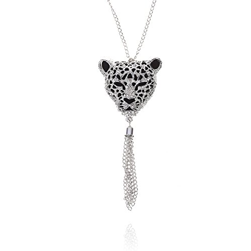 Kloud City 26 Inches Leopard Head Bead Hollow Necklace Tassel Bohemian Sweater Chain Silver
