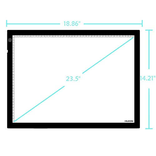 HUION 23.5 Inches (Diagonal Length) LED Tattoo Tracing Light Pad Translucent Tablet Copy Board with Multifunction Stander, Drawing Board Clip, Tracing Paper - A3 Holder