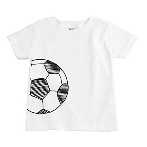 The Spunky Stork Soccer Ball Monochrome Organic Cotton Toddler T Shirt (3T) White