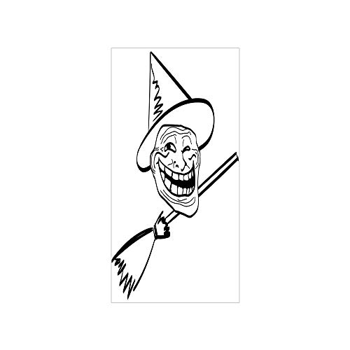 Ylljy00 Decorative Privacy Window Film/Halloween Spirit Themed Witch Guy Meme LOL Joy Spooky Avatar Artful Image/No-Glue Self Static Cling for Home Bedroom Bathroom Kitchen Office Decor Black White -