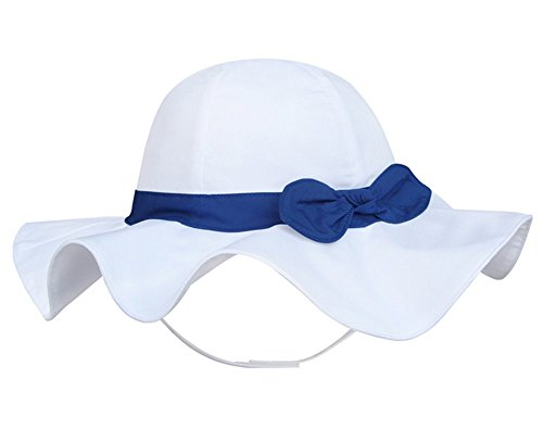 Spring / Summer Cotton Baby Girls 's Outdoor Bowknot Sun Hat /Beach Hat (20.9 in(53cm)/5-7 years old, White)