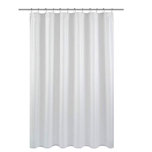 Barossa Design Fabric Shower Curtain Liner Machine Washable and Weighted Hem Bottom, 70 x 72 inches for Bathroom, Pure White