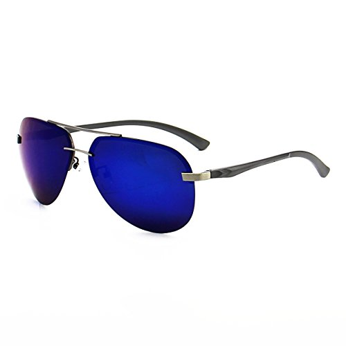 SOPRETTY Men Oversized Aviator Sunglasses Polarized Blade Flash Lens Eyewear - UV 400 with case 64MM (Gun Frame, Dark Blue lens)