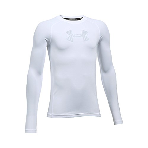 Under Armour Boys' HeatGear Armour Long Sleeve Shirt, White/Overcast Gray, Youth Medium - Boys Coldgear Long Sleeve