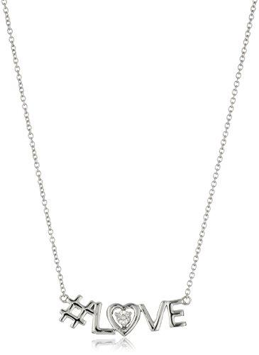 Sterling Silver DiamondLove Necklace, 18