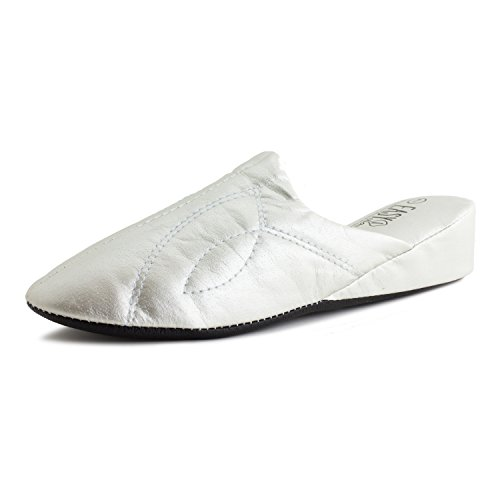 Easy Womens Vinyl Lounge House Slippers (Adults) Silver